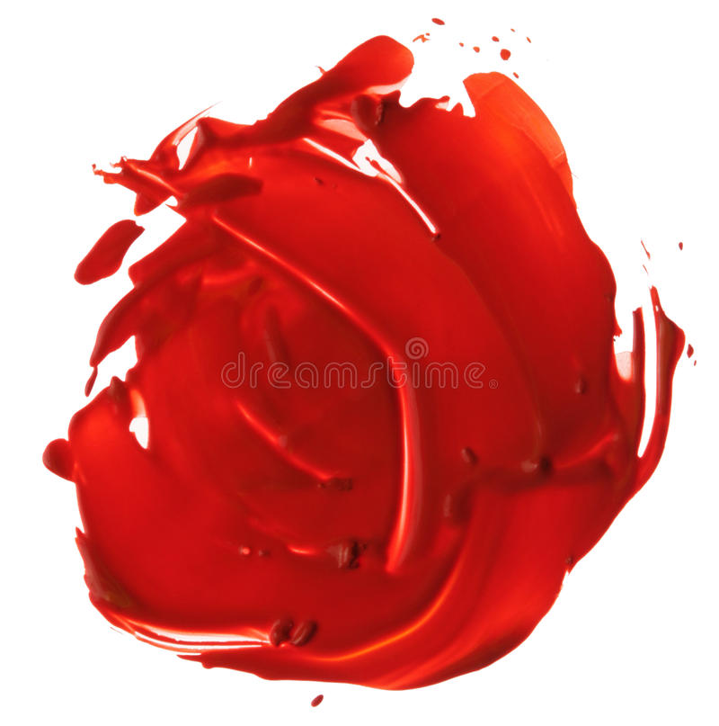 Abstract acrylic brush strokes blot. Abstract red acrylic brush strokes blot royalty free stock photography