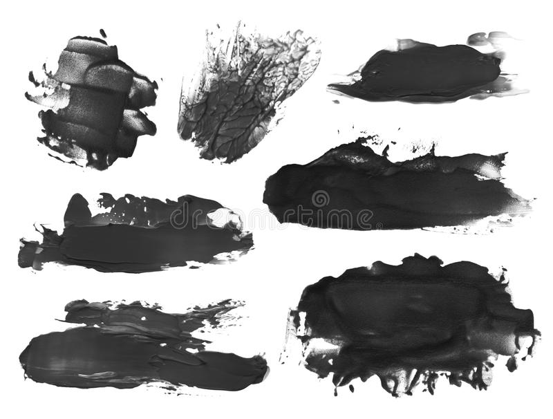 Abstract acrylic brush strokes blots. Collection of abstract acrylic brush strokes blots stock images