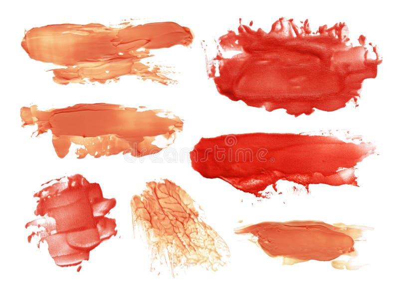 Abstract acrylic brush strokes blots. Collection of abstract acrylic brush strokes blots stock image