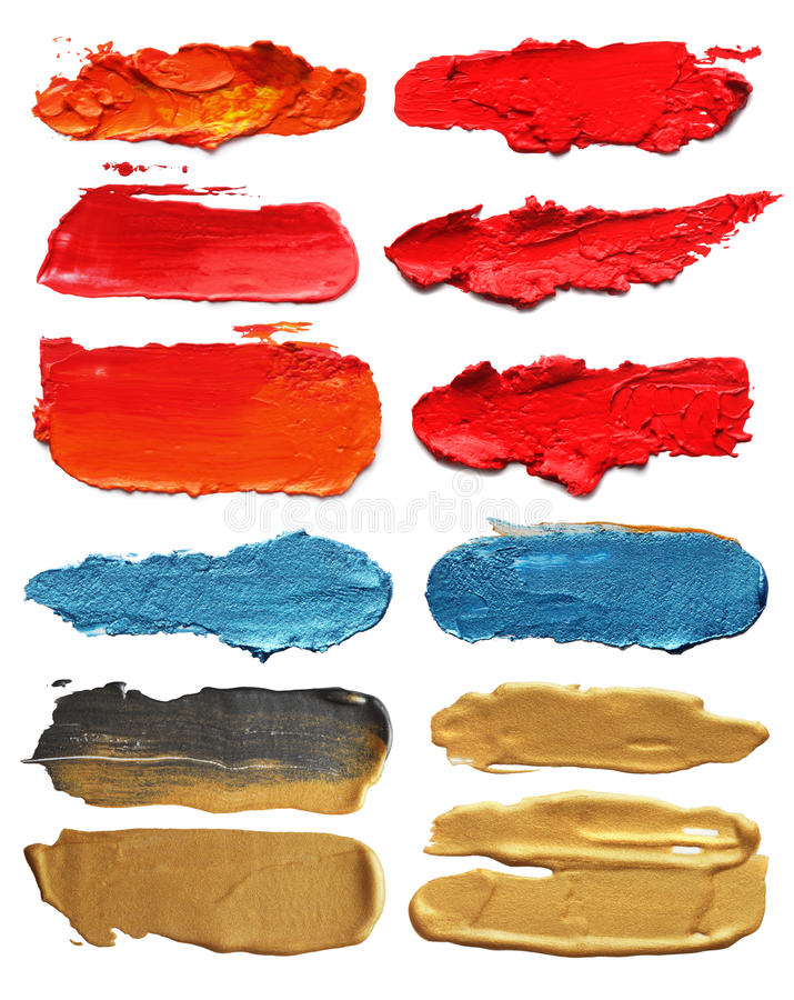 Abstract acrylic brush strokes. Collection of abstract acrylic brush strokes stock photos