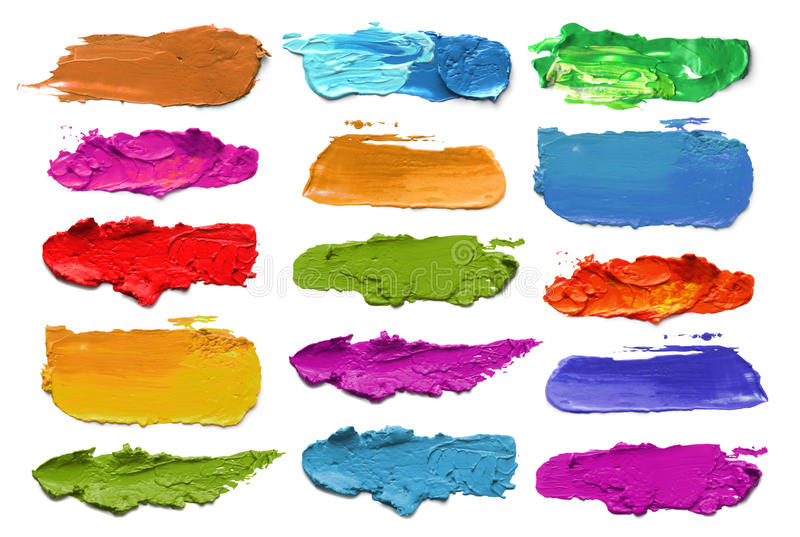 Abstract acrylic color brush strokes. stock images
