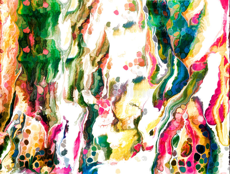 Abstract acrylic flat painting with cell royalty free illustration