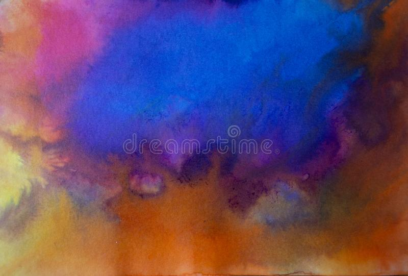 Abstract acrylic modern contemporary art blue over orange royalty free stock images