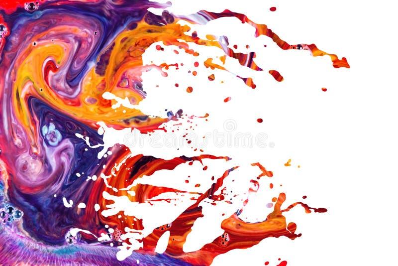 Abstract acrylic paint splash background. Abstract acrylic paint splash elements isolated on white background royalty free stock image