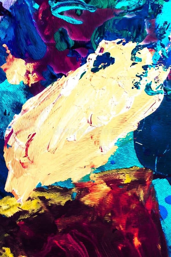 Abstract acrylic paint strokes, art brush flatlay background stock photos