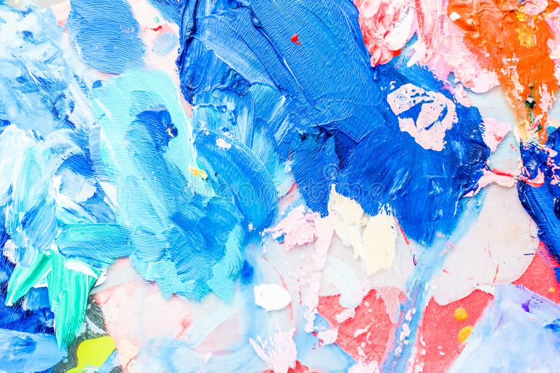 Abstract acrylic paint strokes, art brush flatlay background. Painted texture, artistic backdrop and modern painting concept - Abstract acrylic paint strokes stock photo