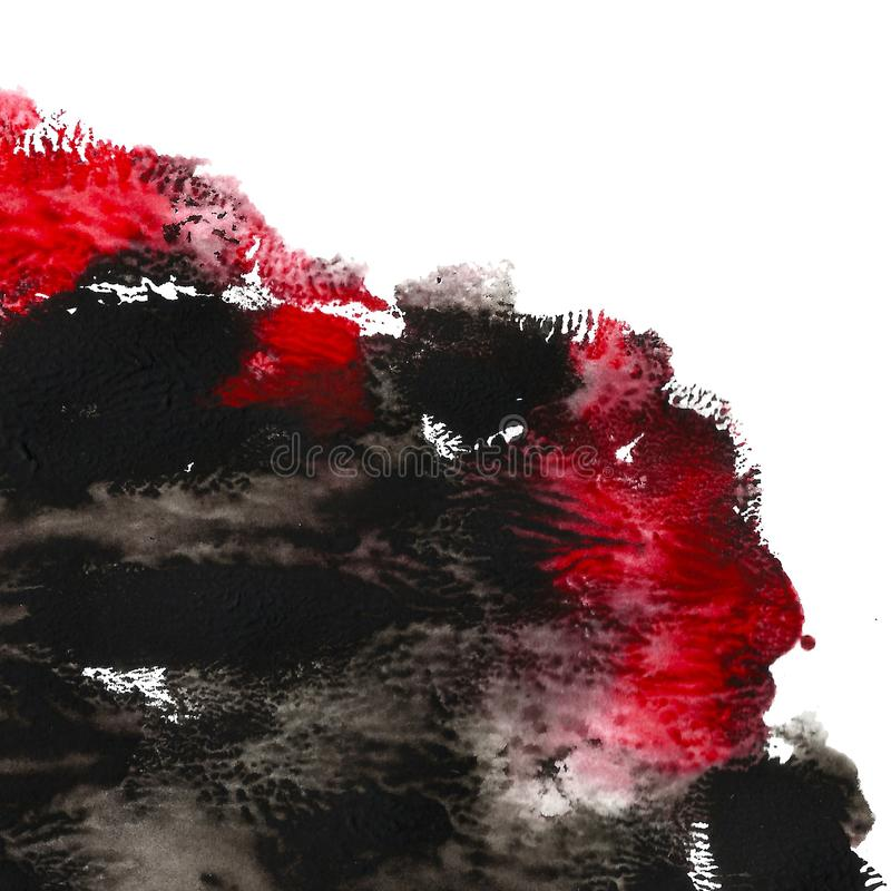 Abstract acrylic painted background. Black, red textured vibrant color. Grunge template for your design. vector illustration