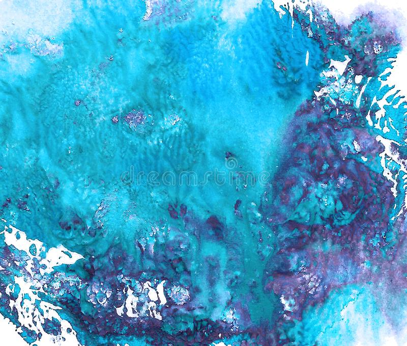 Abstract acrylic painted background. Blue, violet vibrant color. stock illustration