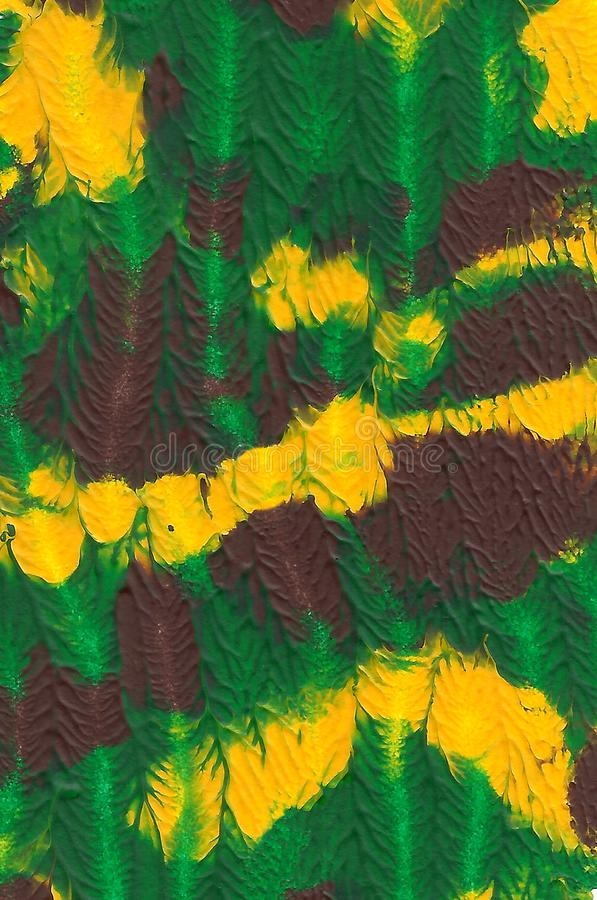 Abstract acrylic painted background. Green, brown, yellow textured vibrant color. Grunge template for your design. stock illustration