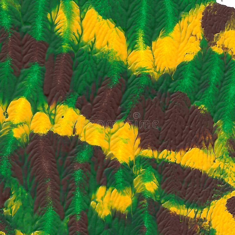 Abstract acrylic painted background. Green, brown, yellow textured vibrant color. Grunge template for your design. royalty free stock photos