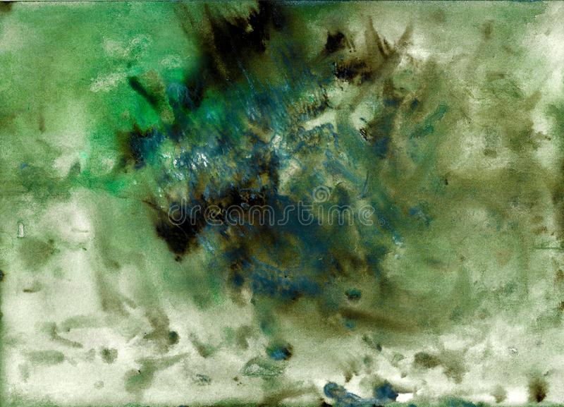 Abstract acrylic painted background. Mixed Green, black, blue textured vibrant color. Grunge template for your design. royalty free illustration