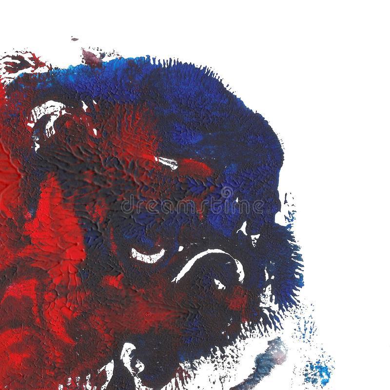 Abstract acrylic painted background. Red blue textured vibrant color. Grunge template for your design. royalty free illustration
