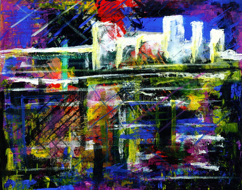 Abstract acrylic painting of a city. royalty free illustration