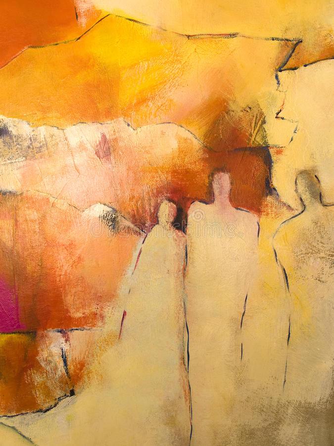 Abstract acrylic painting of a group of people stock illustration