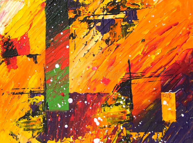 Abstract acrylic painting in yellow, red, orange and dark colors. Vivid expressive painting modern art, texture painting stock illustration