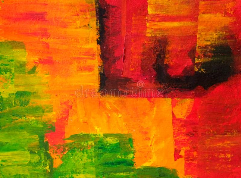 Abstract acrylic painting in red, orange and green colors. vector illustration