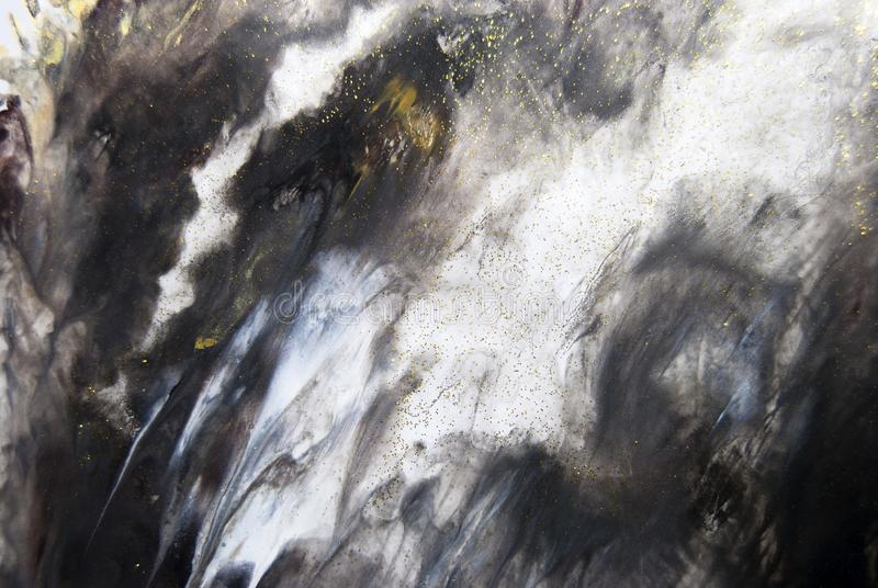 Abstract acrylic painting texture details in dark tones. Photography of dark abstract acrylic painting on white paper with texture details. with a palette royalty free stock photography