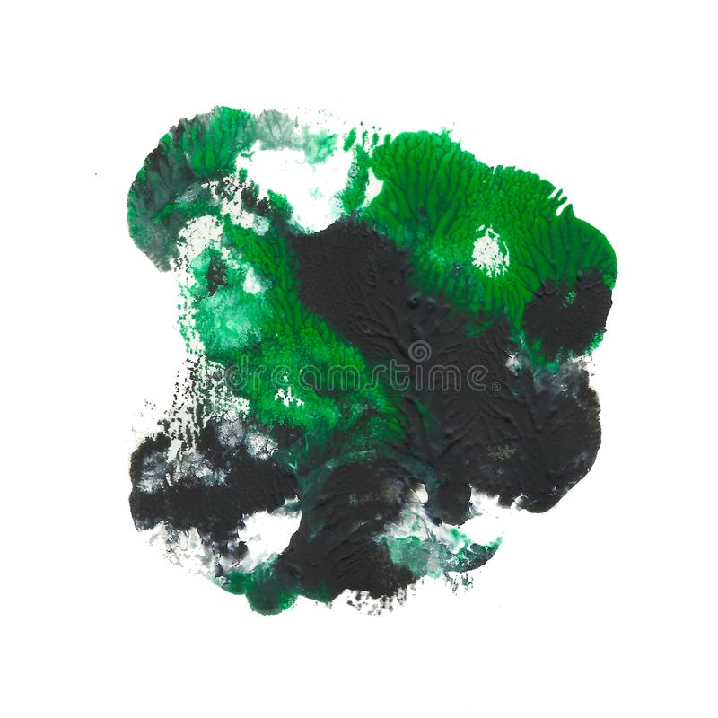 Abstract acrylic spot isolated on white background. Black green vibrant color. stock image