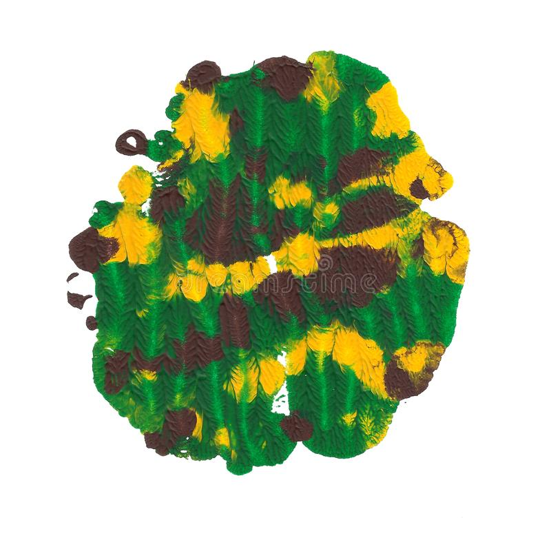 Abstract acrylic spot isolated on white background. Green, brown, yellow vibrant color. Monotyped hand drawn grunge royalty free stock images