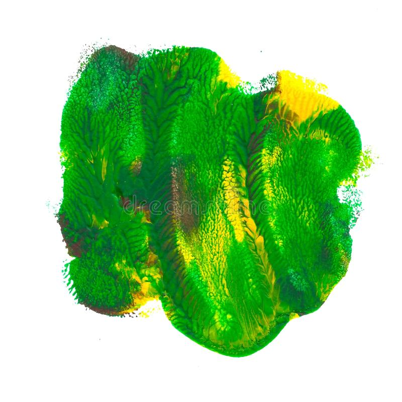 Abstract acrylic spot isolated on white background. Green, yellow, brown vibrant color. stock illustration
