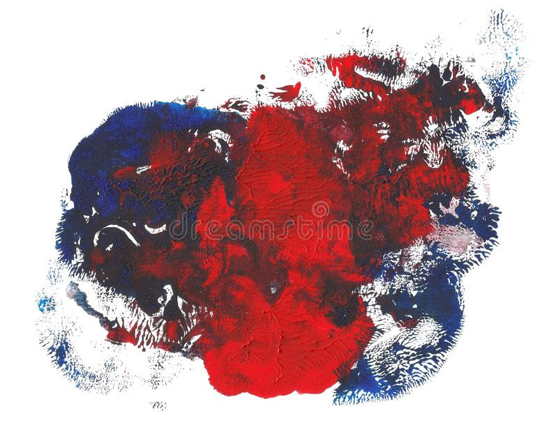 Abstract acrylic spot isolated on white background. Red bue vibrant color. Monotyped hand drawn grunge vector illustration