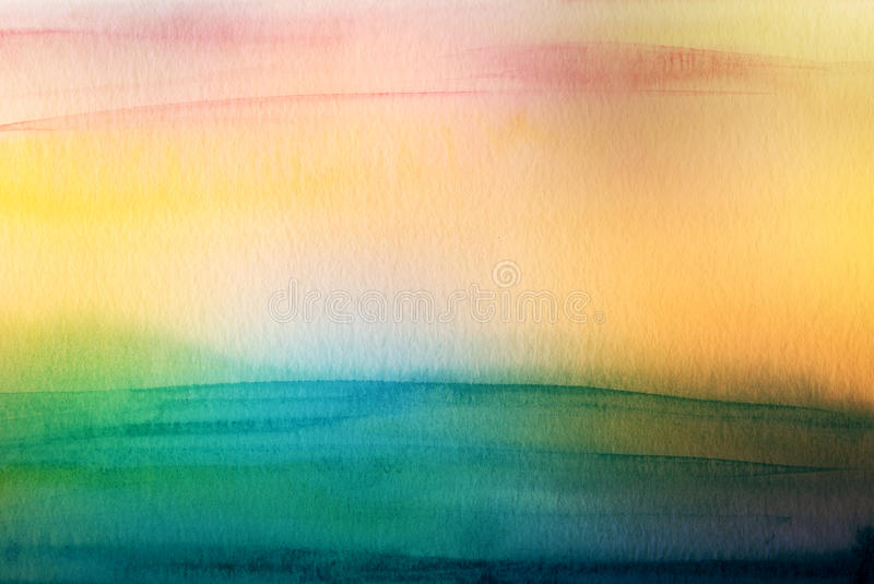 Abstract acrylic and watercolor brush strokes painted background stock image