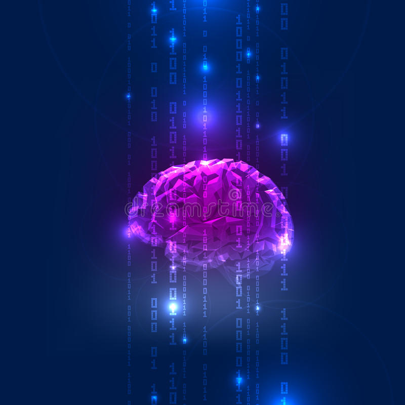 Abstract Activity of Human Brain with Binary Code stock illustration