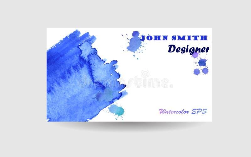 Abstract adreskaartjeontwerp als achtergrond Blauwe Waterverftextuur royalty-vrije illustratie
