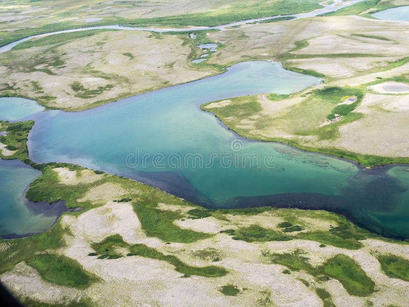 Abstract aerial image of Katmai National Park in ALaska royalty free stock photo