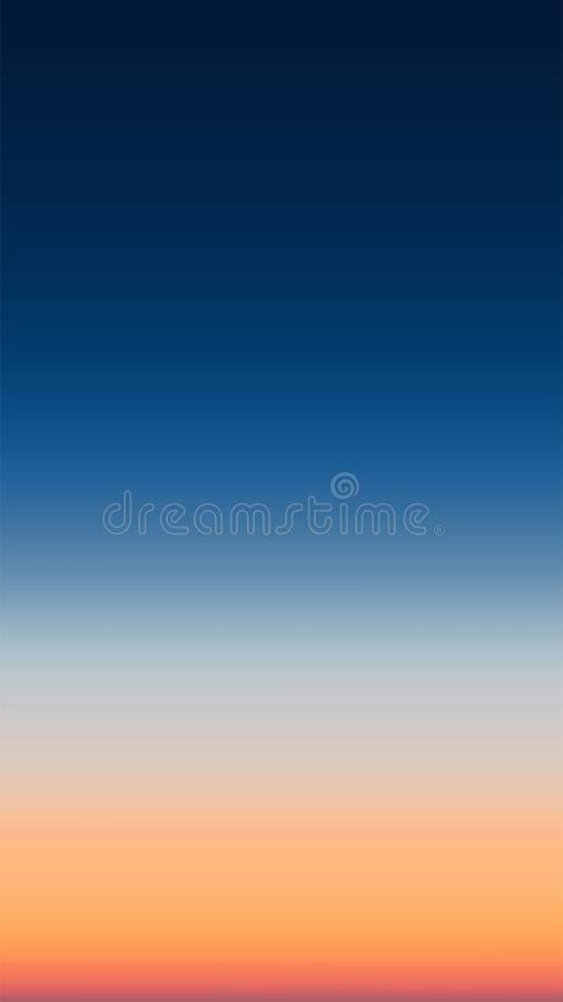 Abstract panoramic view of sunrise gradient mesh over ocean. Nothing but sky and water. Beautiful serene scene. Vector illu royalty free illustration
