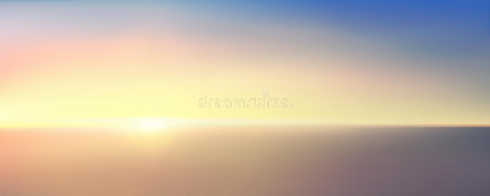 Abstract aerial panoramic view of sunrise over ocean. Nothing but blue bright sky and deep dark water. Beautiful serene scene. vector illustration