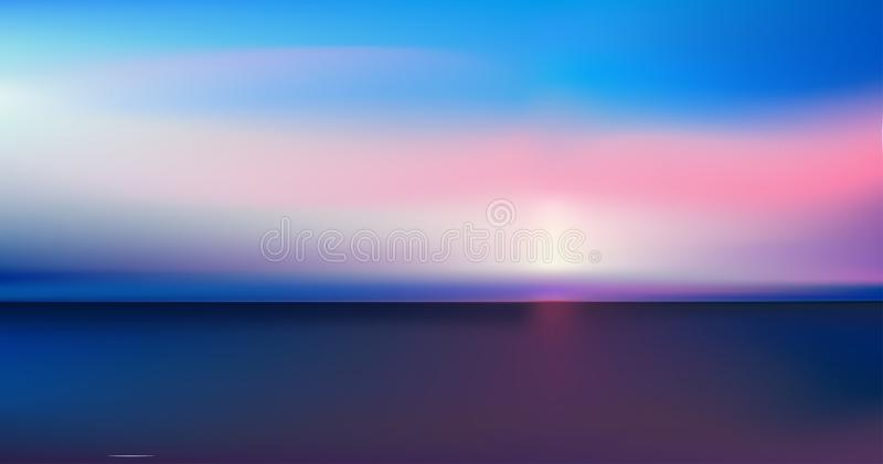 Abstract aerial panoramic view of sunrise over ocean. Nothing but blue bright sky and deep dark water. Beautiful serene scene. stock illustration