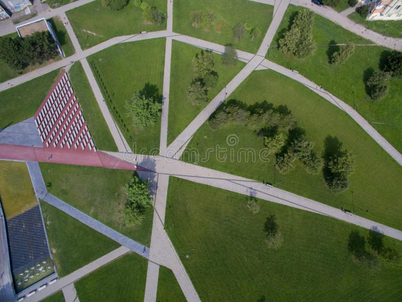 Abstract aerial view of Cecenija square in Kaunas stock photography