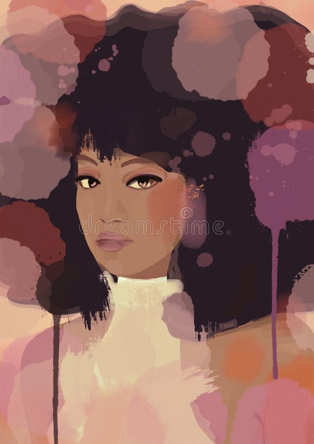 Abstract african american or asian Woman Canvas Oil Painting. Print Picture Home Wall Art Decor, no frame vector illustration