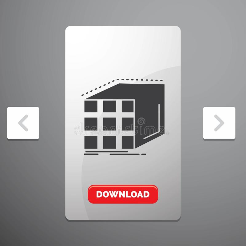 Abstract, aggregation, cube, dimensional, matrix Glyph Icon in Carousal Pagination Slider Design & Red Download Button. Vector EPS10 Abstract Template royalty free illustration