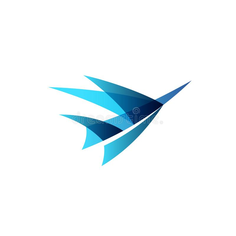 Airplane abstract logo. Abstract airplane stylized logo. Sign of a blue bird rise up vector illustration
