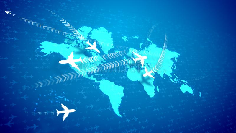 Abstract airplanes moving over the global map stock illustration