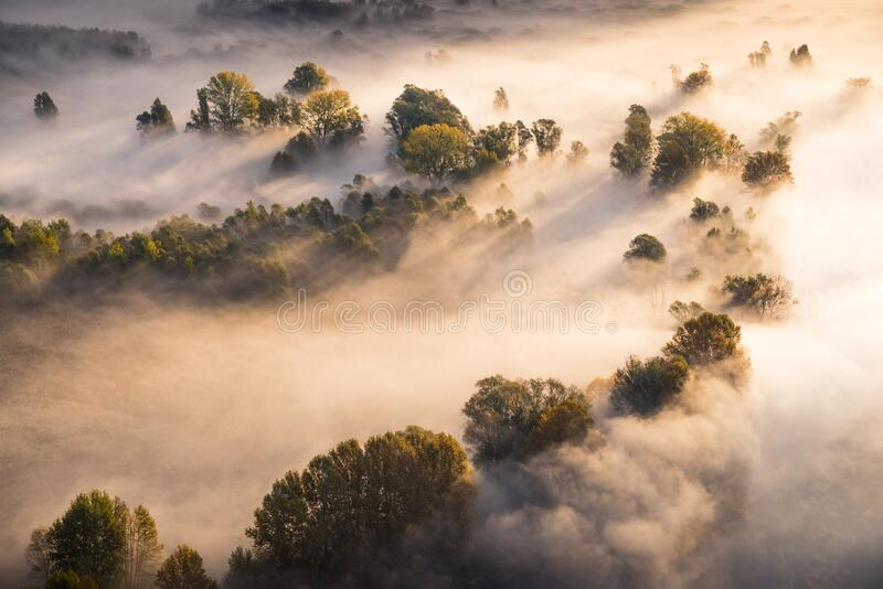 Abstract with Airuno on Adda river in Italy at sunrise with myst fog trees foliage in autumn fall season. Airuno on Adda river in Northern Italy at sunrise with royalty free stock photo