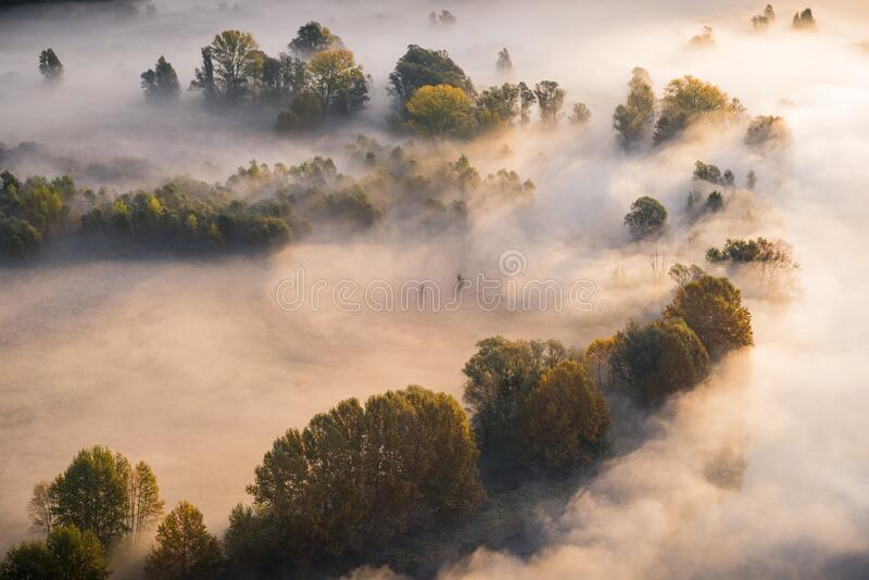 Abstract with Airuno on Adda river in Italy at sunrise with myst fog trees foliage in autumn fall season. Airuno on Adda river in Northern Italy at sunrise with stock images