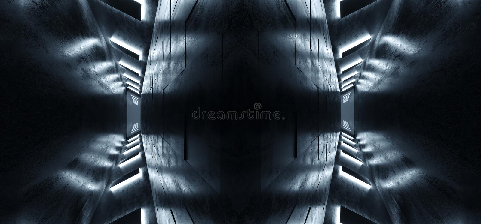Abstract Alien Spaceship Reflective Concrete Dark Empty White Glowing Led Lights Tunnel Corridor Hall Room 3D Rendering stock illustration