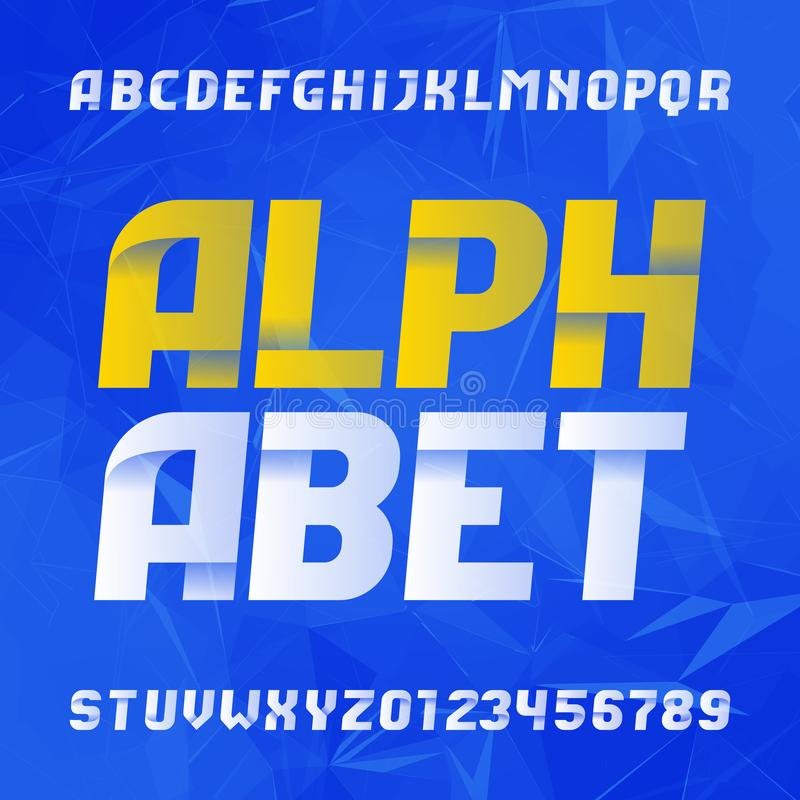 Abstract alphabet font. Modern letters and numbers on abstract background. Easy color change. royalty free illustration