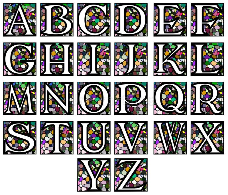 Abstract alphabet in mosaic. Set representing the letters of alphabet on a background made like a mosaic vector illustration