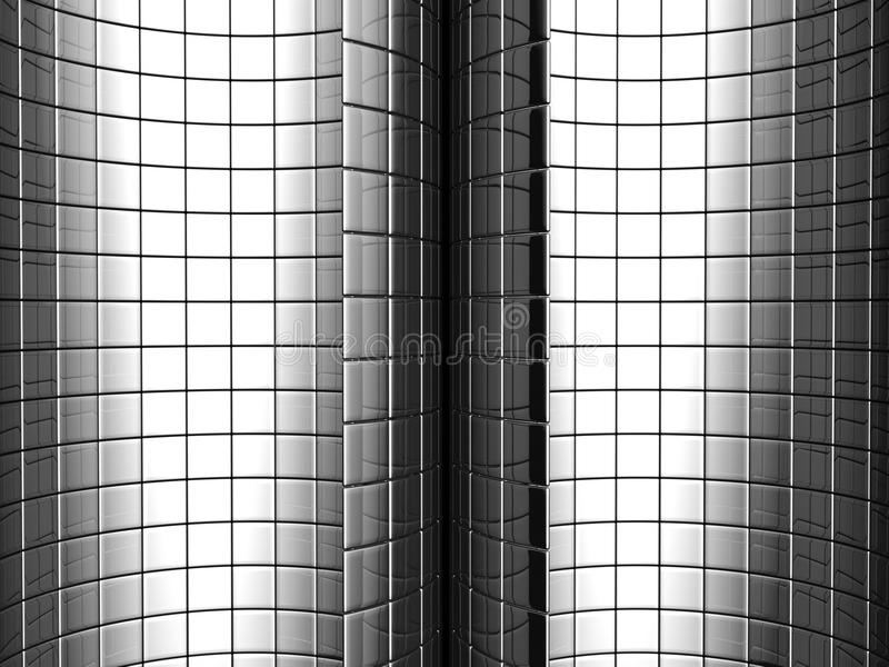 Abstract aluminum curve square pattern background stock image