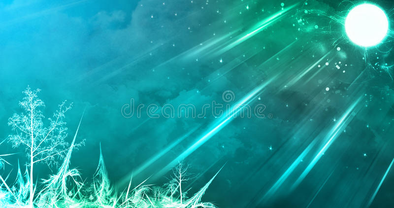 Abstract Amazing Full moon winter night stock image