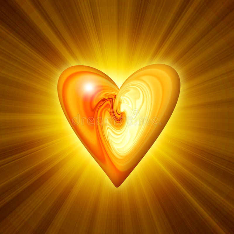 Abstract amber heart. On a dark background with the effect of luminescence vector illustration