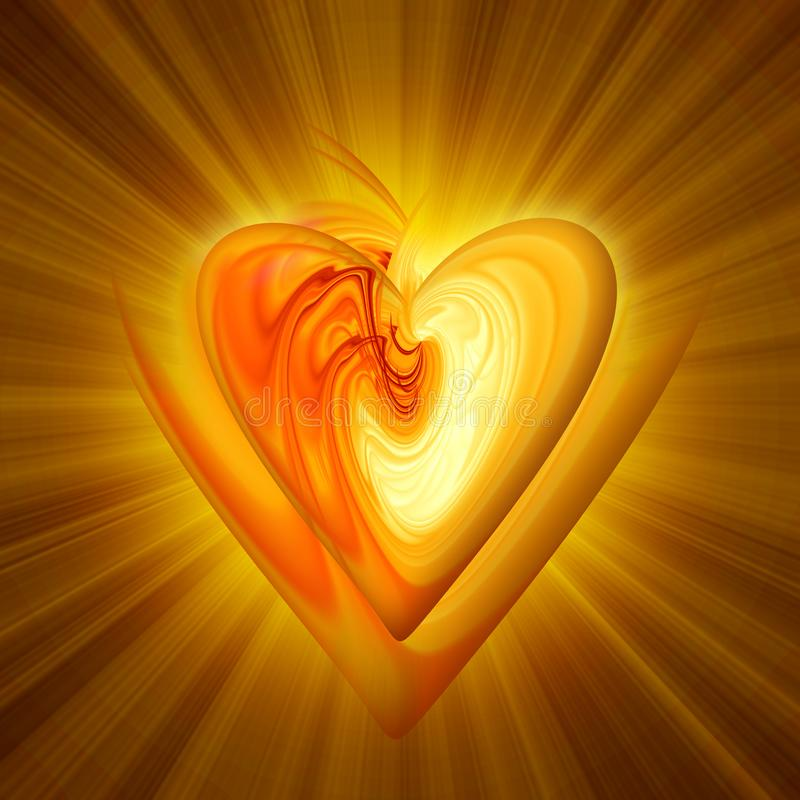 Abstract amber heart. On a dark background with the effect of luminescence royalty free illustration