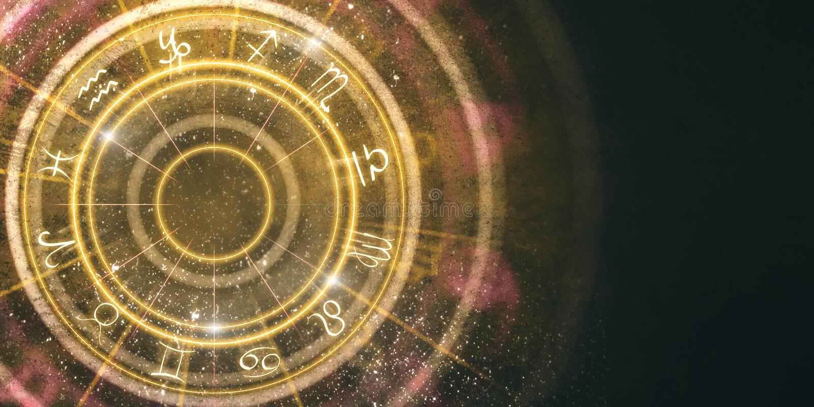 Abstract amber zodiac wheel background. Fortune telling and luck concept. 3D Rendering royalty free illustration