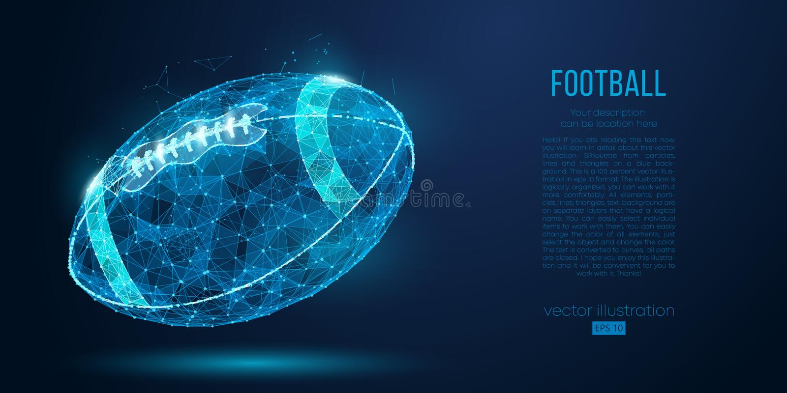 Abstract American football ball from particles, lines and triangles on blue background. Cyber technology rugby. Vector royalty free illustration