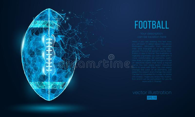 Abstract American football ball from particles, lines and triangles on blue background. Cyber technology rugby. Vector stock illustration