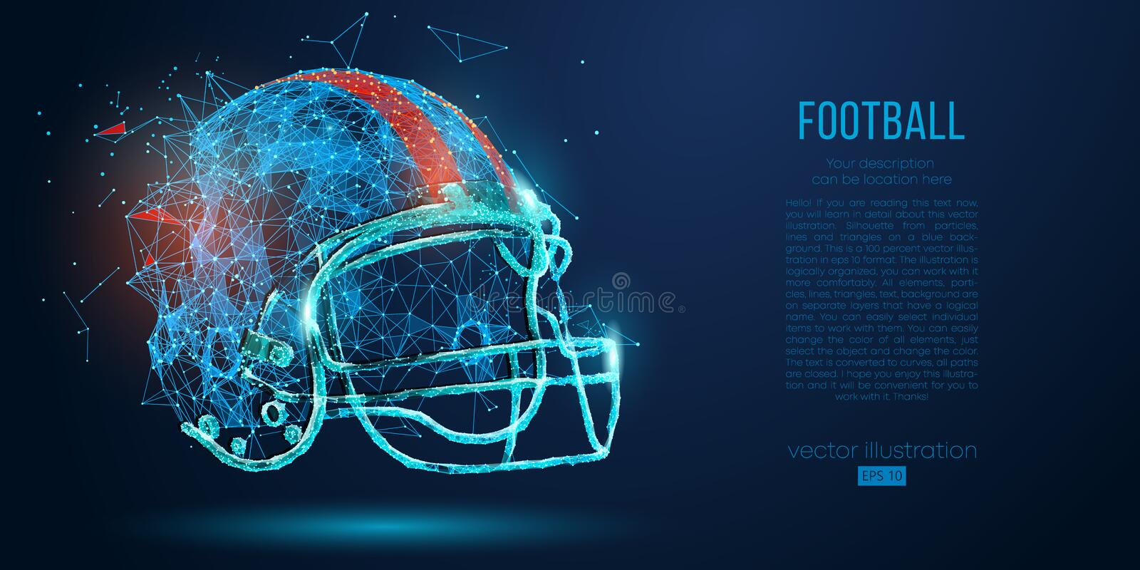 Abstract American football helmet from particles, lines and triangles on blue background. Rugby. Vector illustration royalty free illustration